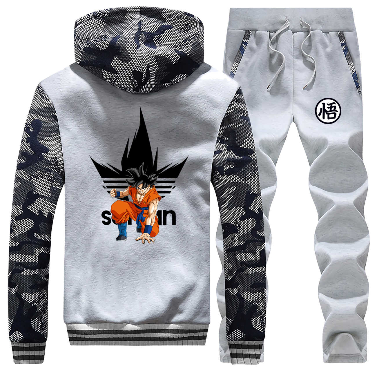 Dragon Ball Z Warm Trainingspak Super Saiyan Merk mannen Dikke Sets Japanse Anime 2019 Winter Harajuku Hip Hop Broek sweatshirts