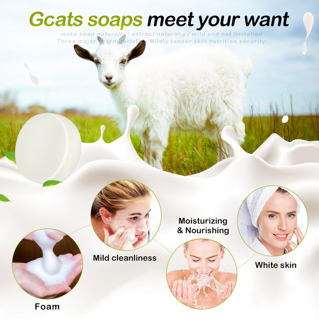 1PCS Handmade Soap Goat's Milk Smooth Skin Tightening Pores Deep Cleansing Removal Pimple Pore Acne Treatment Face Care TSFH 4