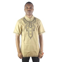 Africa Embroidery Men` s Dashiki Tops Summer Side Slit African Shirt Wedding Clothing
