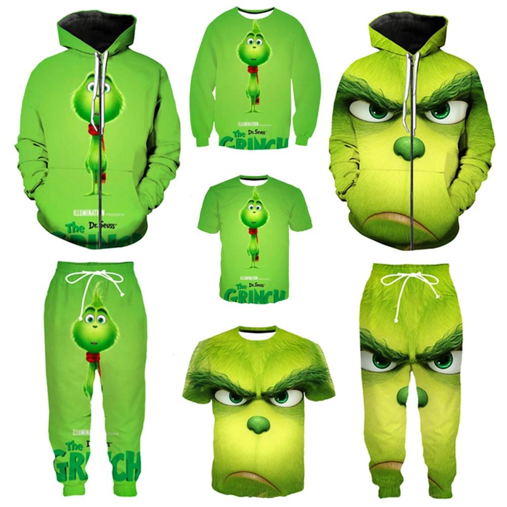 Christmas Grinch Hoodies Sweatshirts Cosplay Christmas Costume Grinch 3D Printing Zipper Hoodie Jacket Men And Women Sweater