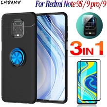 3-in-1 luxury Phone Case For Xiaomi Redmi Note 9 S Pro Case Ring Stand Holder Case+Glass+Camera,Soft Matte Silicone Original Back Protective Cover Xiomi Redmi 9S Note 9S 7 8 T Pro Note9 Pro Ring Magnetic Cases