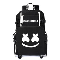 America Mysterious Electronic Music DJ Cotton Candy Marshmello School Bag Backpack Night Light Men And Women Casual Canvas Bag