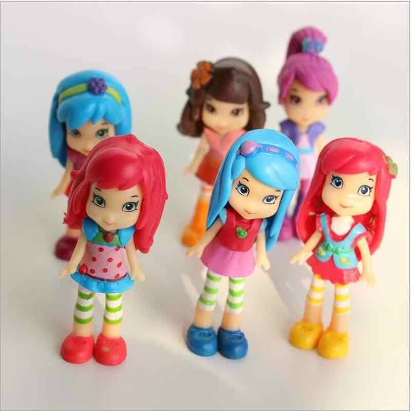 6PCS//Lot Strawberry Shortcake Doll Princess Girl Action Figures Kids Party Toy