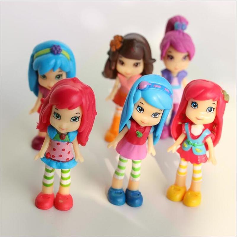 Cartoon Strawberry Girls Action Figure Toys PVC Shortcake Princess Dolls 6pcs/lot   7cm
