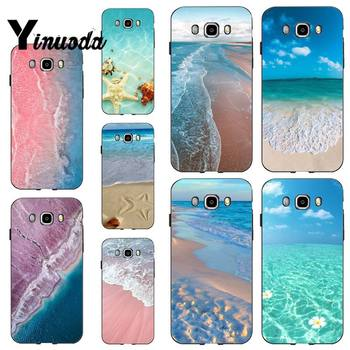 Yinuoda Cute Floral sunset summer beach Sea Black Cell Phone Case for samsung a30 A30S a51 a50 a71 A40 A70 A21 A21S a11 a91 image