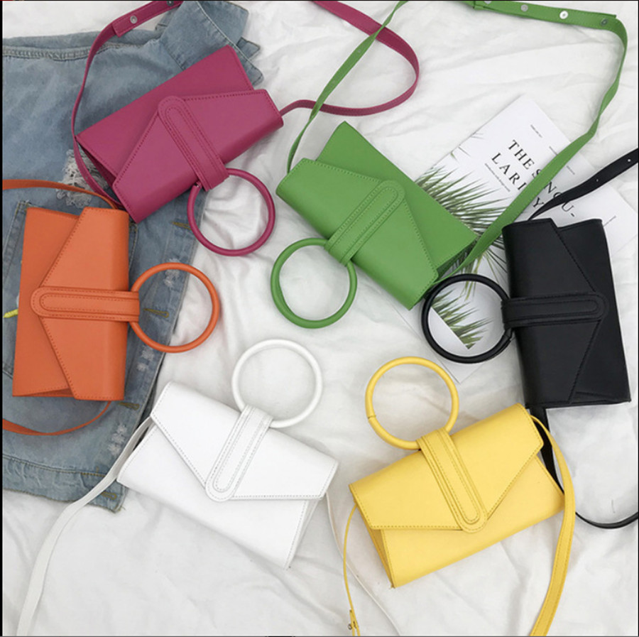 2019 New Lady Messenger Bag Trendy Hong Kong Style Simple Candy Color Bag Wild Women Pure Color Messenger Bag