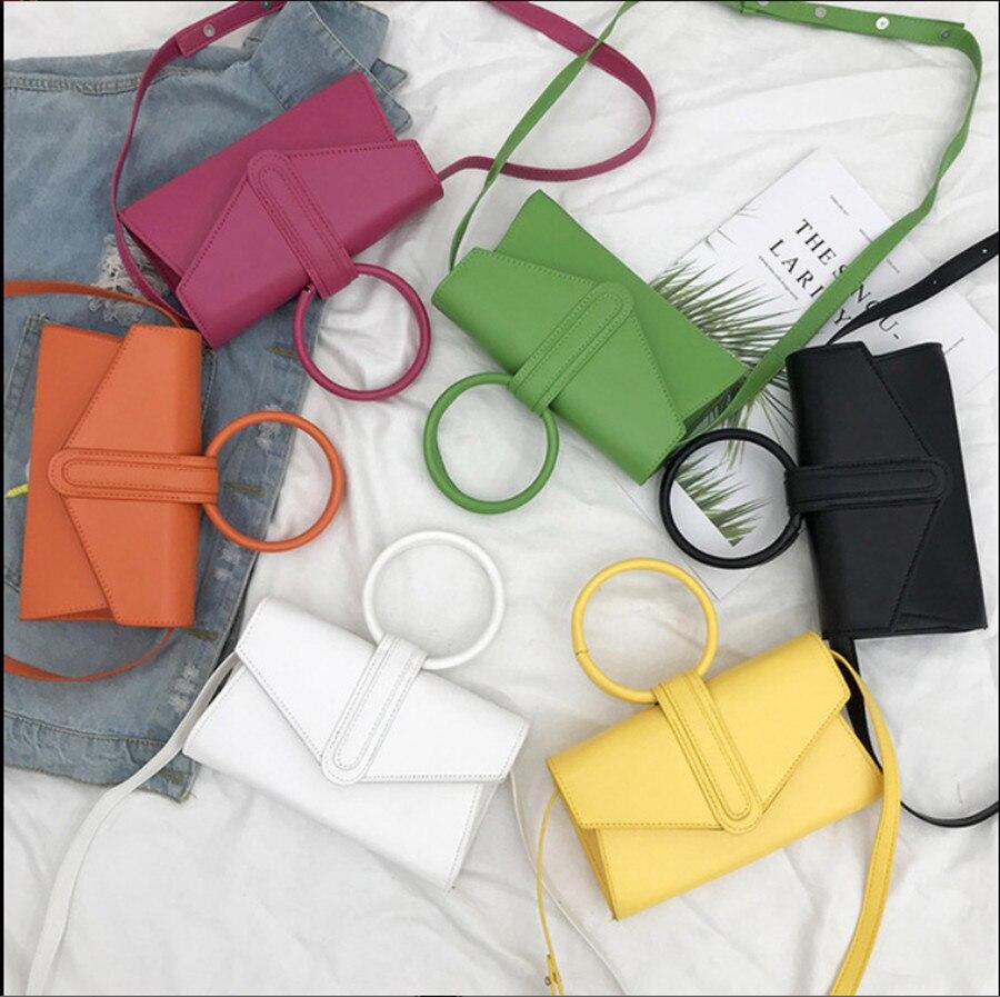 2019 neue Dame Umhängetasche Trendy Hong Kong Stil Einfache Candy Farbe Tasche Wilden Frauen Reine Farbe Umhängetasche