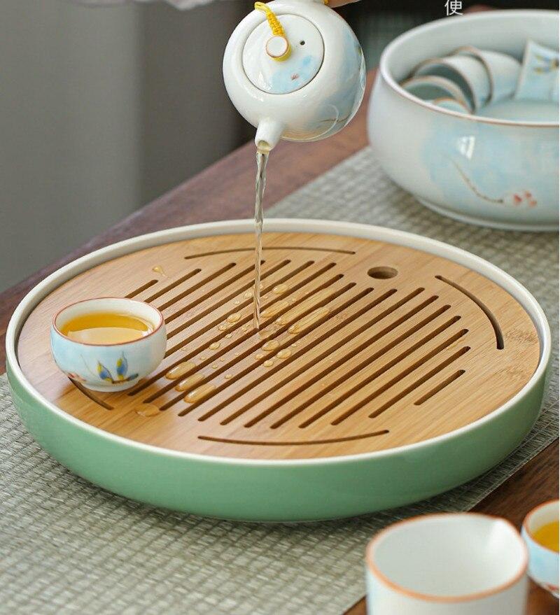 500 〜 1800 ミリリットル茶トレイセラミック + 竹プレート貯水ティーテーブル龍泉青磁茶セットラウンド茶ソーサー茶プレート