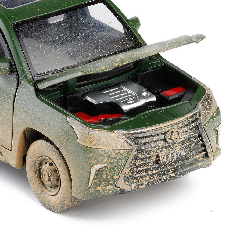 JK 1/32 Lexus LX570 Military off-Road Vehicle Six Open Sound And Light Warrior Metal Car Metal Model Toy image