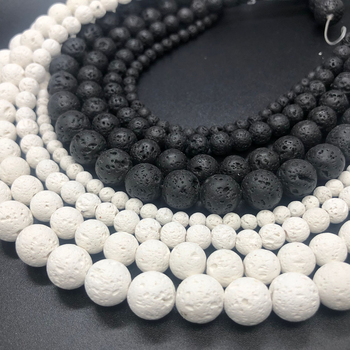 black White Volcanic Lava Natural Stone Spacer 6/8/10/12MM Rock Round Loose Beads For Jewelry making DIY Bracelet Wholesale 1strand lot 4 6 8 10 12 mm natural stone old blue sodalite round loose spacer beads for jewelry making diy bracelet wholesale