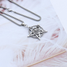 Double-sided Retro Five-pointed Star Jewelry Pirate Skull Titanium Steel Pendant Hip Hop Wind Men's Necklace stylish five pointed star pendant black double chokers necklace