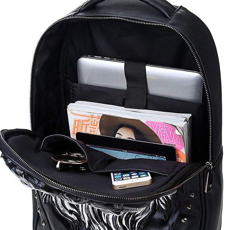 Mode sac à dos femmes sacs à dos hommes sac à dos Famale 3D impression Lion Rivet sacs à dos femmes sacs d'école pour adolescents sac de voyage - 6