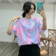 Tie Dye  Large Size Loose Casual Fashion Harajuku Female Letters T-shirt Print Hip Hop Short Sleeve Casual Couple T-shirt