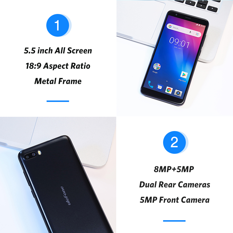 Ulefone S1 Мобильный телефон Android 8,1 5,5 дюймов 18:9 MTK6580 четырехъядерный 1 ГБ ОЗУ 8 Гб ПЗУ 8МП + 5Мп задняя двойная камера 3g смартфон - 3