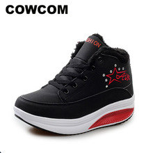 COWCOM Winter WADDLE Shoes Leather Face Round Head Thick Background  Womens Wedge Heels Shoes Women Warm Heels Boot