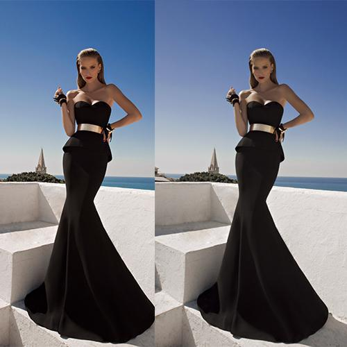 Black Vestido De Festa Sweetheart Corset With Peplum Metallic Belt Mermaid Evening Gown 2018 Mother Of The Bride Dresses