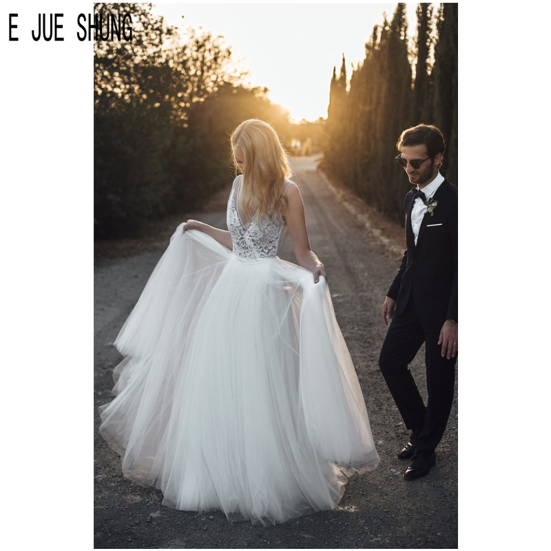 E JUE SHUNG Elegant Tulle Wedding Dresses A  Line Deep V Neck Open Back Lace Appliques Boho Bridal Gowns Robe De Mariee