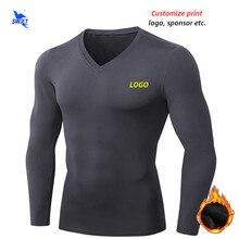 Camiseta térmica de manga larga para correr para hombre, ropa deportiva de secado rápido con cuello en V para gimnasio, personalizada, para invierno, 2020