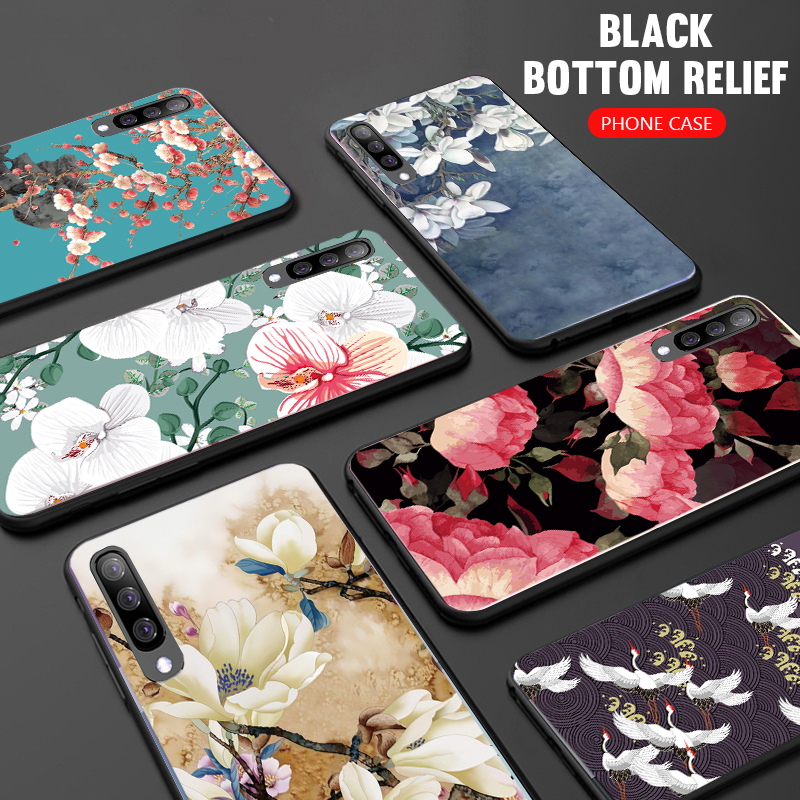 3D <font><b>Silicone</b></font> Relief Flower <font><b>Case</b></font> For <font><b>Samsung</b></font> Galaxy A71 A51 M30S A70 <font><b>A50</b></font> A40 A30 <font><b>2019</b></font> S20 Ultra S10E S8 S9 Plus Note 10 Soft Cover image