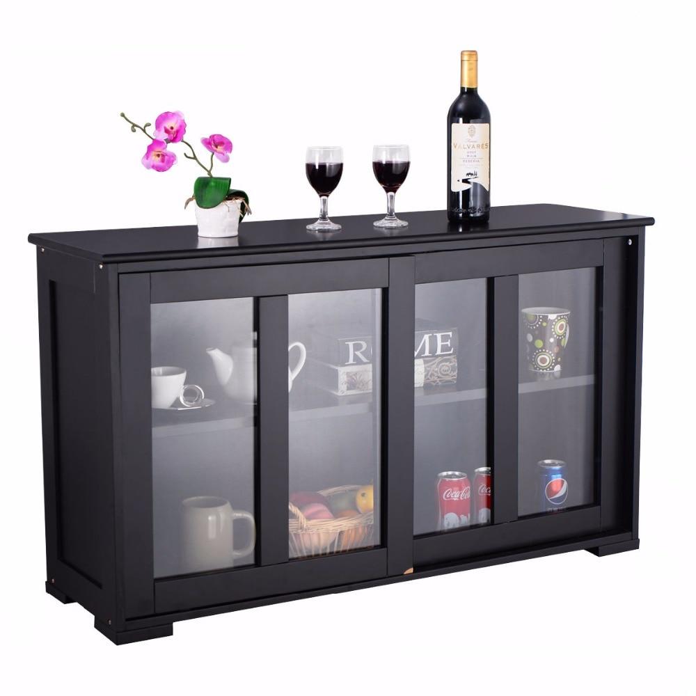Home Storage Cabinet Sideboard Buffet Cupboard Glass Sliding Door Shelf Pantry Wood Kitchen Cabinet Furniture HW53867