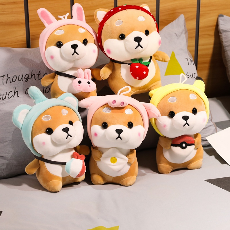 New 10cm Cute Squirrel Shiba Inu Dog Plush Toy Stuffed Soft Animal Corgi Chai Pillow Christmas Gift For Kids Kawaii Valentine