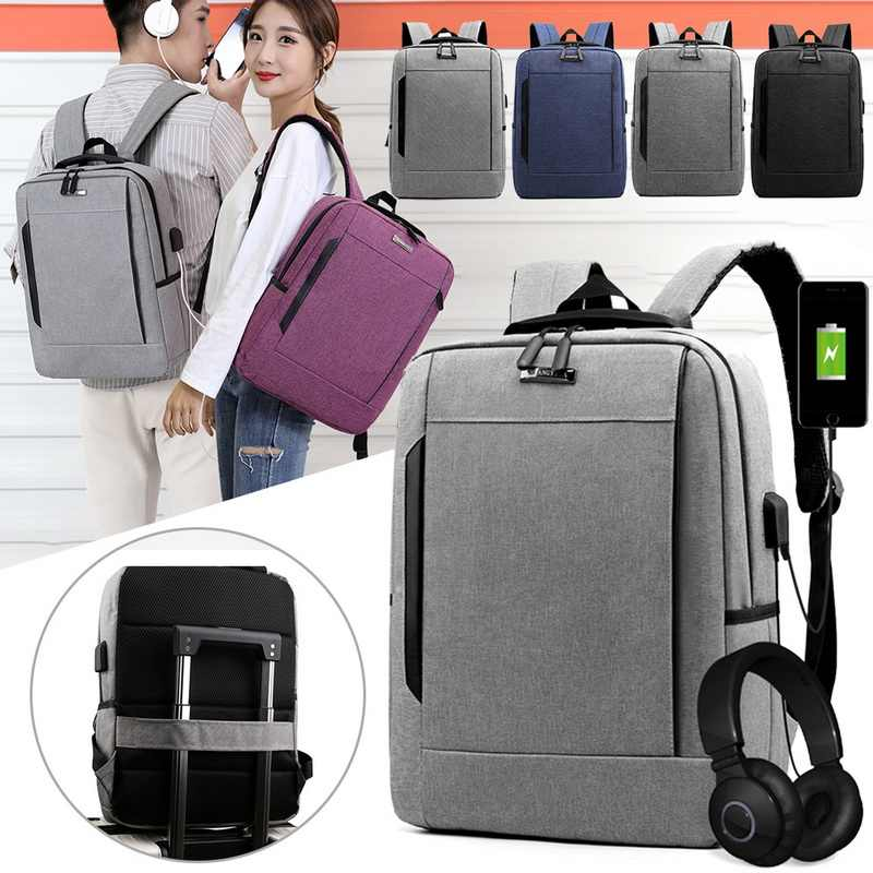 PUIMENTIUA Fashion Men Anti Theft Business Laptop Backpack  Larger Capaticy Multifunction Travel Backpack Bags