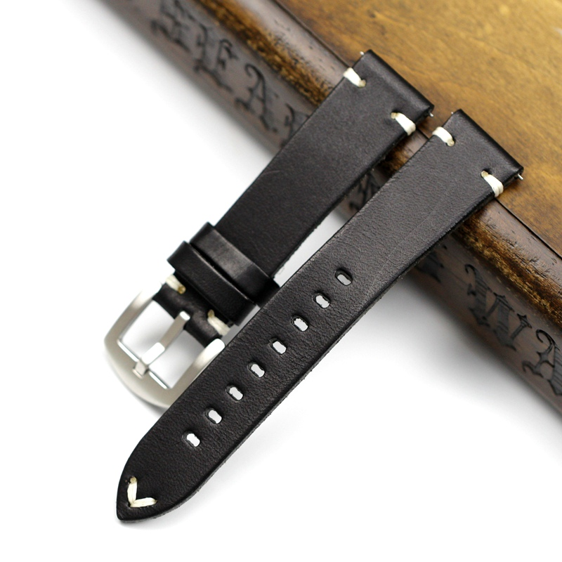 Image 3 - Handmade 20mm 22mm Balck with Black White Red stitches Cowhide Genuine leather Watchband For Mido DW Casual Watch Strap Belt-in Watchbands from Watches