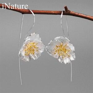 Image 1 - INATURE 925 en argent Sterling grande fleur de pavot boucles doreilles goutte pour les femmes bijoux de mode cadeau