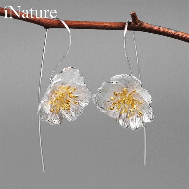 INATURE 925 en argent Sterling grande fleur de pavot boucles doreilles goutte pour les femmes bijoux de mode cadeau