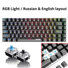 цена на Wired Gaming Mechanical Keyboard Black Blue Switch 82 keys RGB backlight wired Mechanical keyboard For Gamer Laptop Computer PC