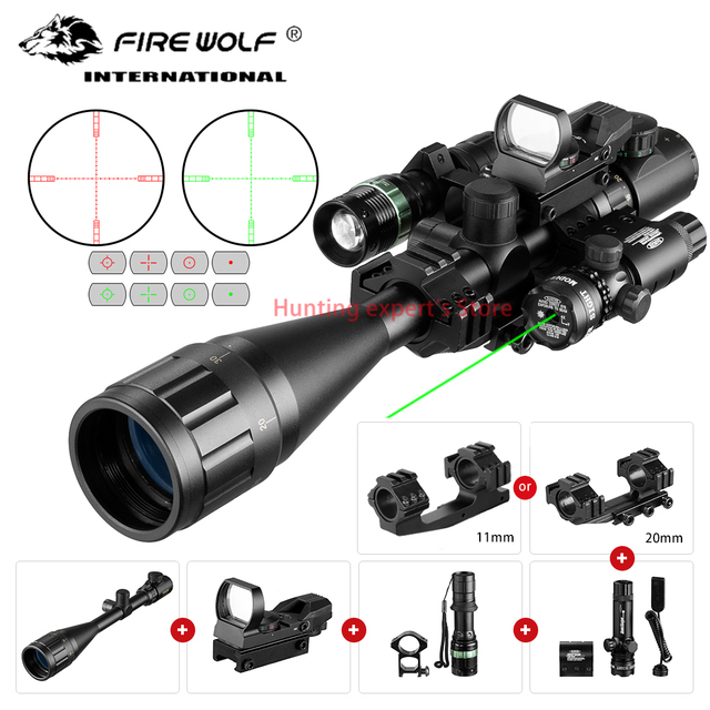 6-24X50 Aoeg Optical Sight Red Dot Holographic Green Laser Tactical Combination Rifle Scope Crossbow Hunting 1