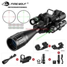 6-24X50 Aoeg mirino ottico punto rosso olografico verde Laser tattico combinazione fucile portata caccia balestra