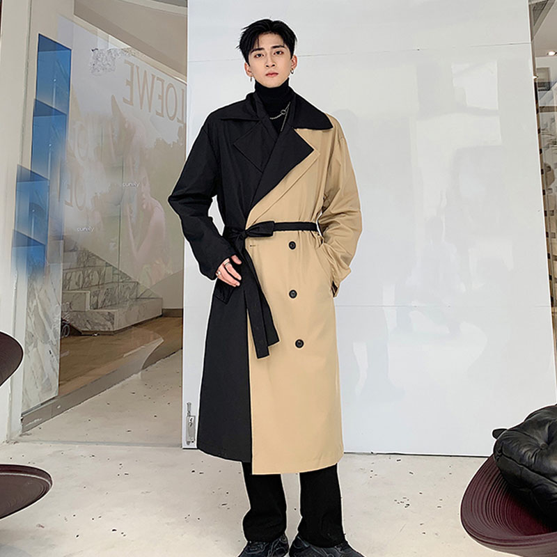 Men Double Breasted Loose Business Casual Long Windbreaker Jacket Male Streetwear Vintage Fashion Trench Coat Overcoat Outerwear