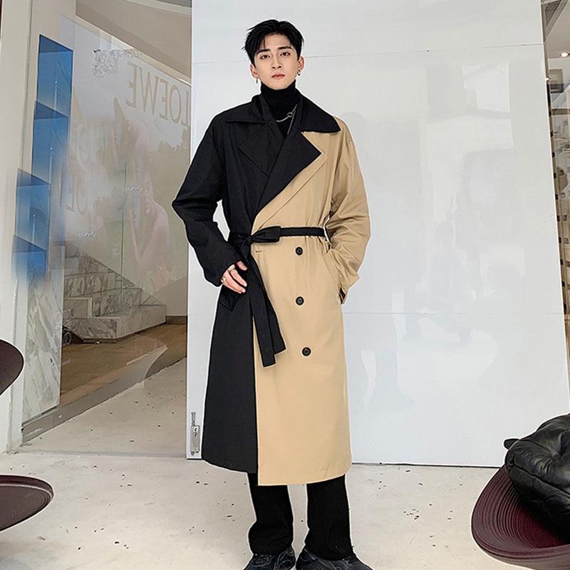 Men Double Breasted Loose Business Casual Long Windbreaker Jacket Male Streetwear Vintage Fashion   Trench   Coat Overcoat Outerwear