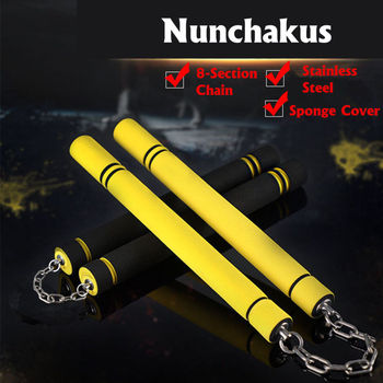 for Beginners Black yellow Durable nunchakus Martial Arts Nunchakus Foam Metal Chain Safe Sponge Nunchucks martial arts foam nunchaku nunchucks sponge stick chain practice training safety martial arts products