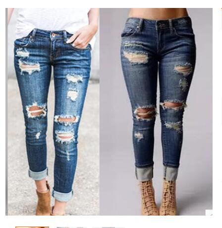 Hot Sale Jeans Fashion Button Fly Full Length Pants Hole Pockets Hollow Out  Jeans Sexy Wide Leg Comfortable Woman Jeans