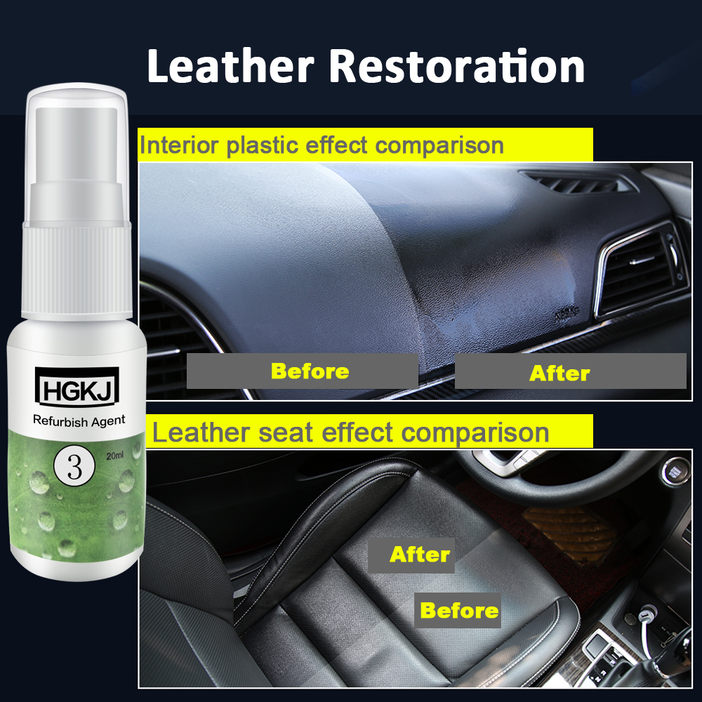 HGKJ Car Seat Leather Restoreration Plastic Restore Renew Spray Car Interior Restorer Leather Conditioner Car Accessories