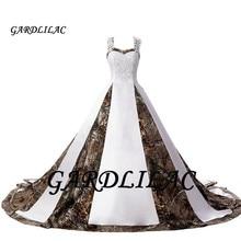 Gardlilac 2020 Women Camouflage Wedding Dresses for Bride Satin Camo Long Formal Gown