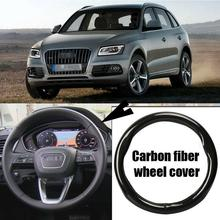 Car-styling 38cm black carbon fiber top PVC leather car steering wheel cover for Audi Q5