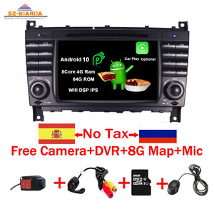 In Stock Android 10 Car DVD Player For Mercedes Benz W203 W209 W219 A Class A160 C-Class C180 C200 CLK200 C230 GPS Radio stereo(China)