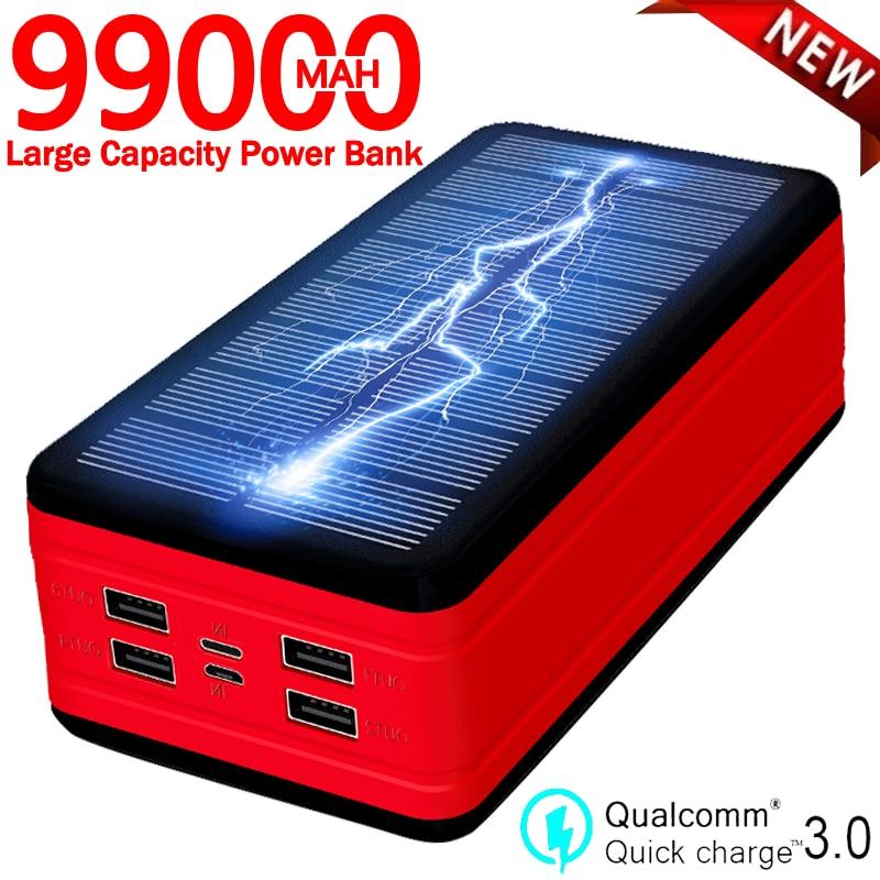 99000mah banco de energia solar carregador portátil de grande capacidade led impermeável ao ar livre poverbank para iphone xiaomi samsung