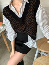 2020 Sweater Vest Casual Knitting Pullover V-necked Spring Autumn Sleeveless Jumper Knitting OL Lady(China)