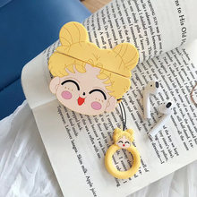 Teyomi 3D Cartoon Cute Sailor Moon Case For Airpods 1/2 Case Silicone Headphone Earphone Cover Case For Girls Funda Airpods(China)