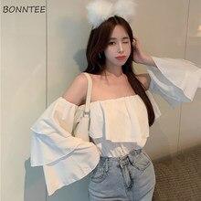 Blusa Sexy De verano para mujer, Camisa fina De Color puro con cuello De barco, ropa De calle con pliegues y hombros descubiertos De diseño coreano