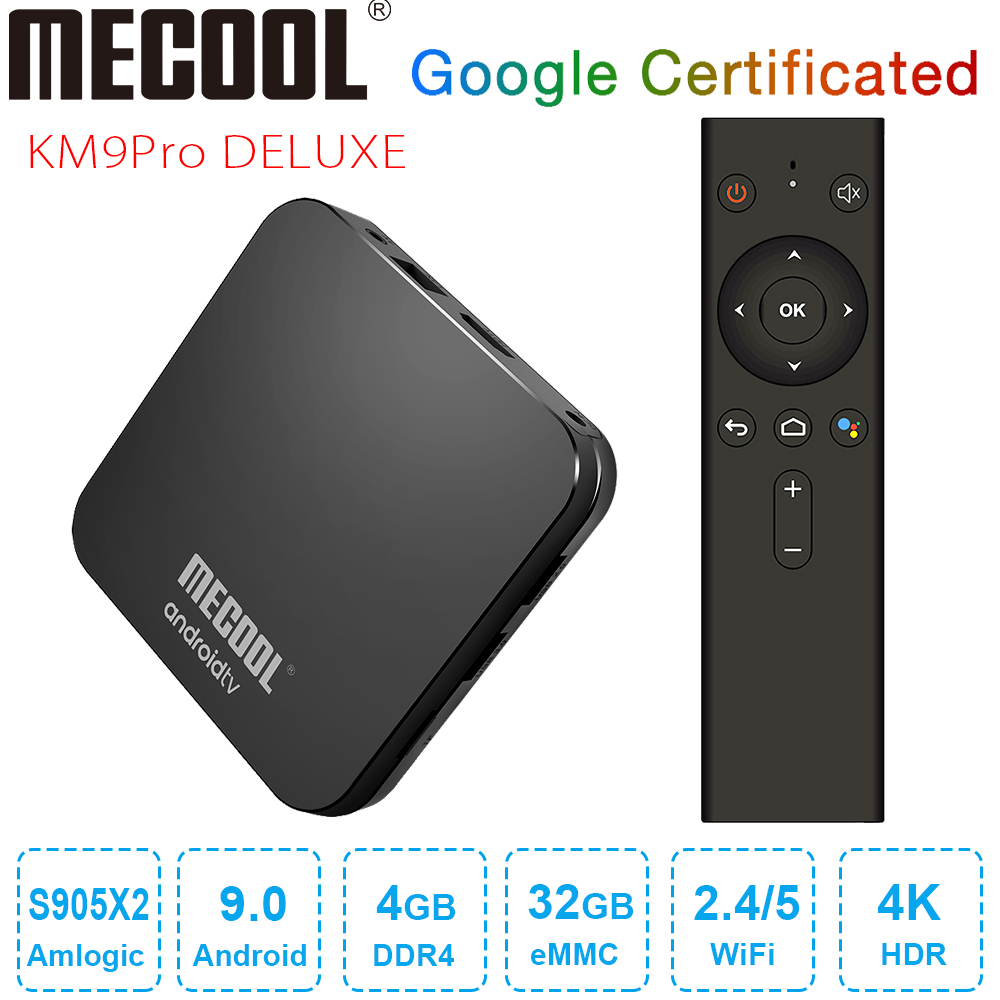 <font><b>MECOOL</b></font> <font><b>KM9</b></font> Pro Deluxe <font><b>Android</b></font> 9.0 <font><b>TV</b></font> <font><b>Box</b></font> Google Certified Smart <font><b>TV</b></font> <font><b>Box</b></font> 4GB DDR4 32GB Amlogic <font><b>S905X2</b></font> 4K 2.4G 5G Dual Wifi BT4.0 image