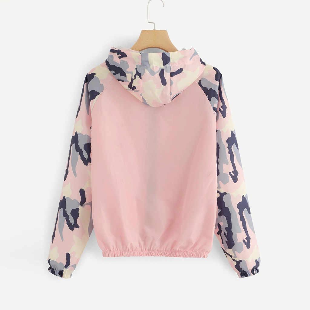 Frauen Grund Jacken Weibliche Zipper Taschen Camouflage Langen Ärmeln Mäntel Herbst Patchwork Mit Kapuze Jacke Casual Sport Mantel