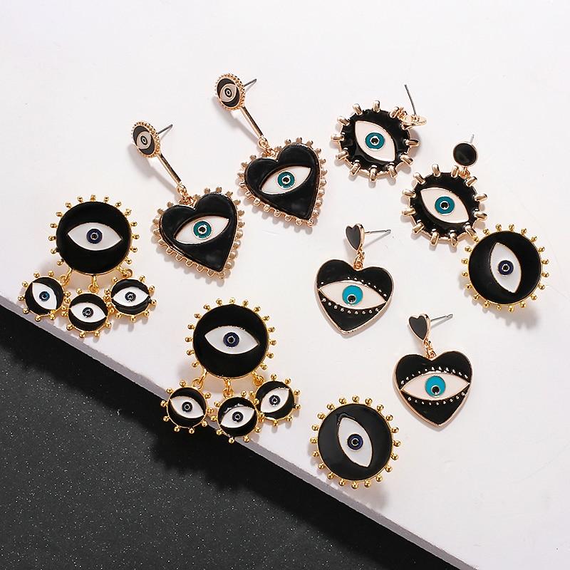 AENSOA 2020 Gold Color Dangle Earrings For Women Evil Eye Drop Earrings Vintage Jewelry 2020 Statement Heart Earrings Party Gift