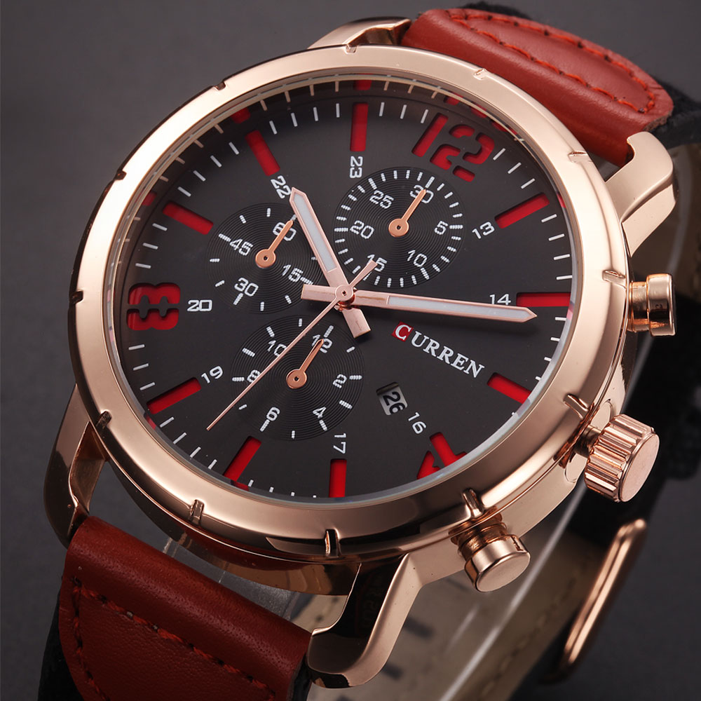 CURREN Mens Watches Top Brand Luxury Sport Quartz-Watch Leather Strap Clock Men Waterproof Wristwatch Relogio Masculino