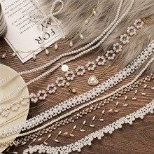 Collares de perlas de cristal con forma de corazón IF ME para mujer, Gargantilla Vintage con lazo y flores, Gargantilla, joyería con carácter, novedad de 2020