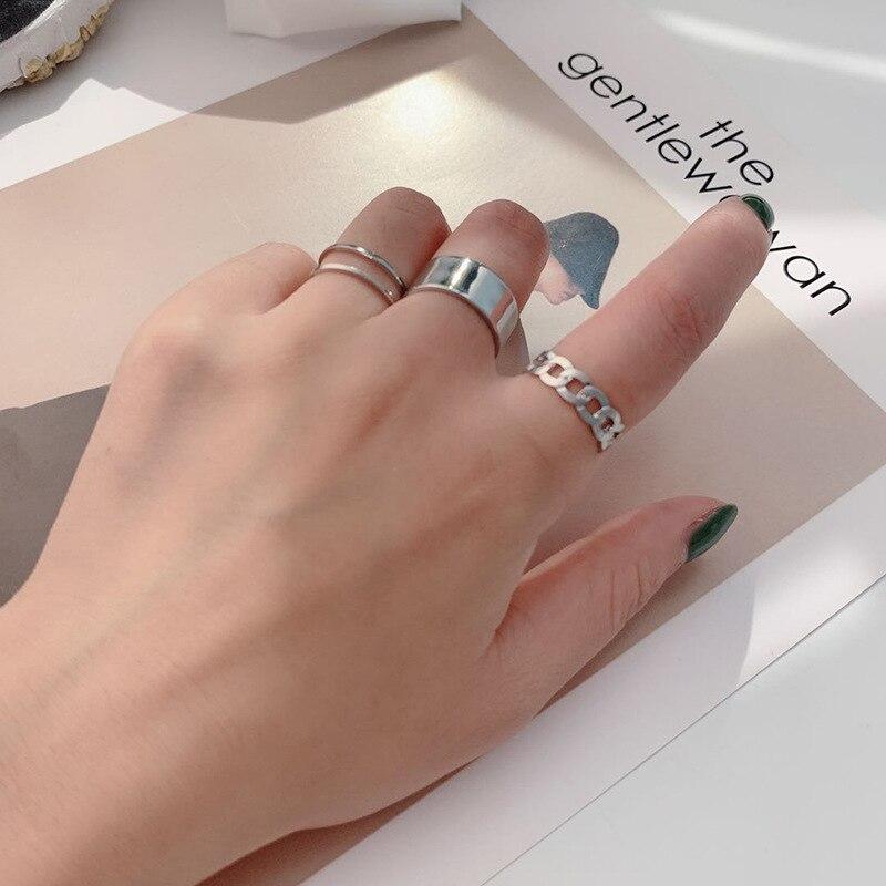 Хип-хоп/Рок металлические геометрические круглые панк кольца набор Открытие индекс аксессуары для пальцев Пряжка Совместное кольцо для хвоста для женщин ювелирные изделия 3